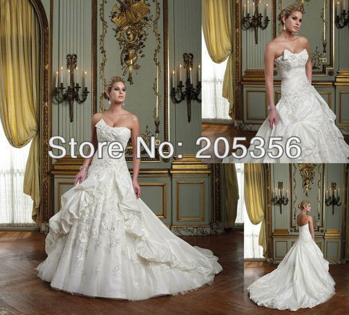 2013 stylish Free Shipping custom-made taffeta material zipper back appliques pleated corset ball gown plus size wedding Dresses(China (Mainland))