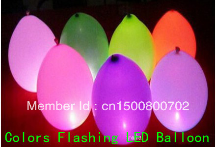 50pc/lot Free Shipping, Colours Changing LED Light Up Balloons Yellow White Blue Red Green Balloons(China (Mainland))