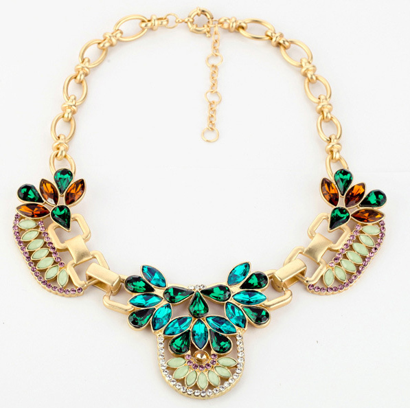 Free Shipping Western Trendy Retro & Vintage Jewelry Necklaces Statement Crystal Rhinestone Costume Jewelry Wholesale Lot BN242(China (Mainland))