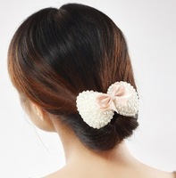 Hair Jewelry Accessory Bow Pearl Fabric Ribbon Hairpin Side-knotted Clip Drop Shipping 069