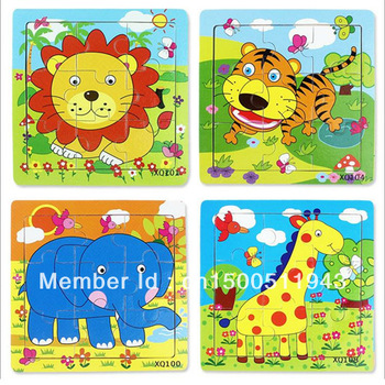Jigsaw puzzle animal intellectual puzzle wooden 9 puzzle cartoon puzzle