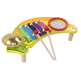 Children baby 0 mdash . 1 mdash . 2 puzzle toy triangle wooden music table knock piano musical instrument(China (Mainland))