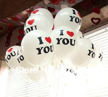 100pcs/lot Led Light Up12 inch latex Balloons For Valentine's Day With CE and ROHS white Color printing i love you