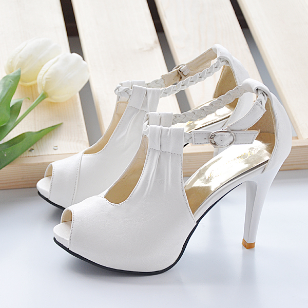 Summer new arrival 2013 fashion open toe sandals single shoes platform high heels thin 40 - 43 plus size sandals(China (Mainland))
