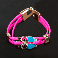 Min.order is $15 (mix order)  Fashion High quality multi-rope Owl Bracelet Bangle Jewelry S5519
