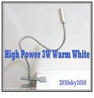 50% discount! LED desk lamp High Power 3W reading lighting Warm White table light clip style led lamp lamps AC85V-265V