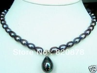 7-9mm Black Akoya Pearl Necklace Shell Pearl Pendant,,TY026