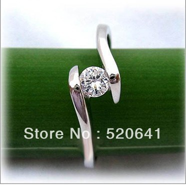 New Arrival Promotion Korean Style Hot fashion 0.25 carat SONA DIAMOND ENGAGEMENT & WEDDING RING fine silver plated RING(China (Mainland))