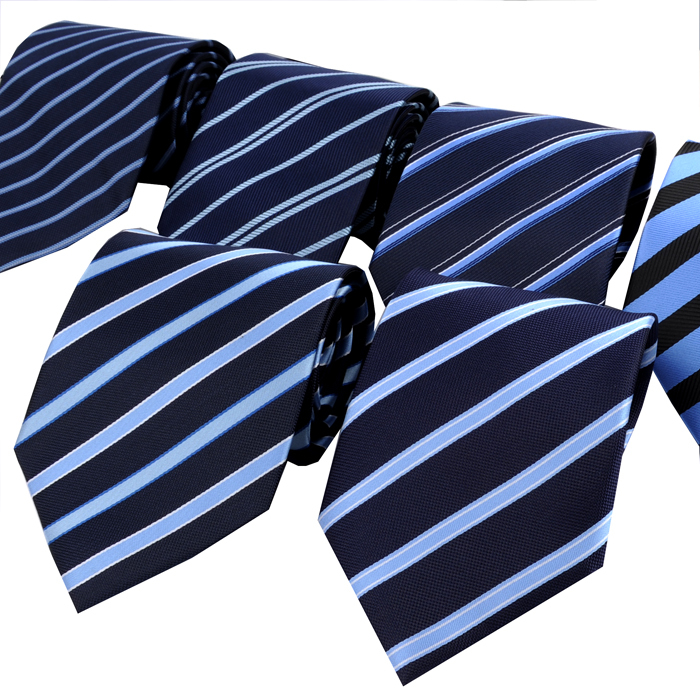 Tie male formal commercial marriage set 10cm blue stripe(China (Mainland))