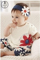 baby suit/3-piece set: headband with flower+ floral print top +short pants/Summer hot style