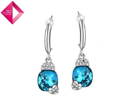 Blue About Love Crystal Earrings Imported Using Austrian Crystal Mosaic Female Fashion Choices Free Shipping(China (Mainland))