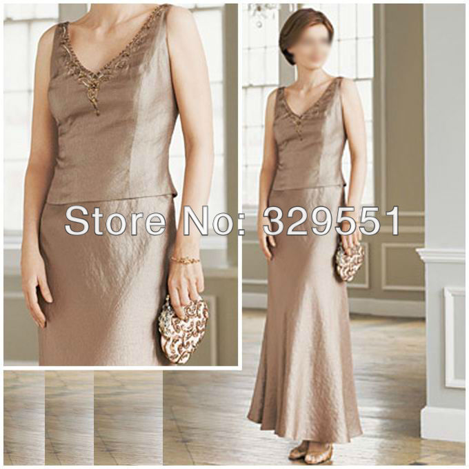 Free Shipping Hot Selling Unique V-Neck Satin Long Mother Of The Bride Dress Custom-Made Any Color/Size(China (Mainland))