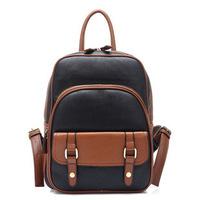 BIG DISCOUNT Fashion British retro women's man backpack 5 contrast color female backpacks hot girl backpacks PU schoolbag