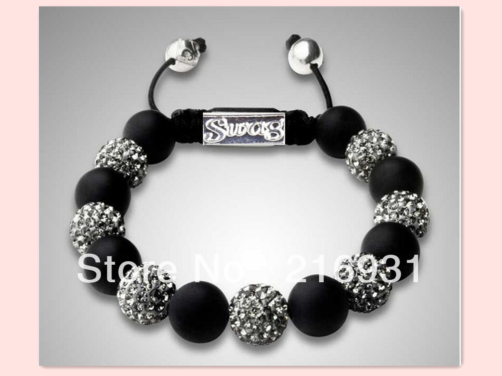 2013 Fashion SWAG best seller shamballa beads shamballa bracelet black crystal gold pave bead promotional gift(China (Mainland))