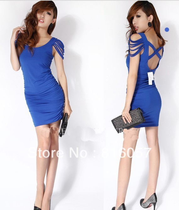 Wholesale purchasing dress -2013 women's new party dress nightclubs installed with tassels rotator cuff cross back sexy dress(China (Mainland))