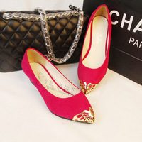 2013 spring metal butterfly decoration pointed toe single shoes candy color velvet women's wedges shoes