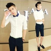 Male short-sleeve shirt slim male short-sleeve shirt male 2013 spring shirt male