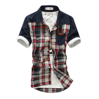 2013 men's clothing fashionable casual short-sleeve shirt slim male short-sleeve shirt male