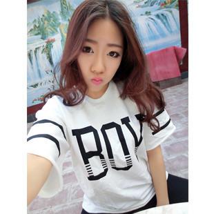 Free Shipping Mango Boy baseball uniform letter print t-shirt short-sleeve half sleeve sty nda navy style HARAJUKU