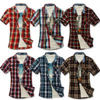 Plus size xxxl 100% cotton plaid shirt short-sleeve fashionable casual male shirt SEMIR men's clothing shirt