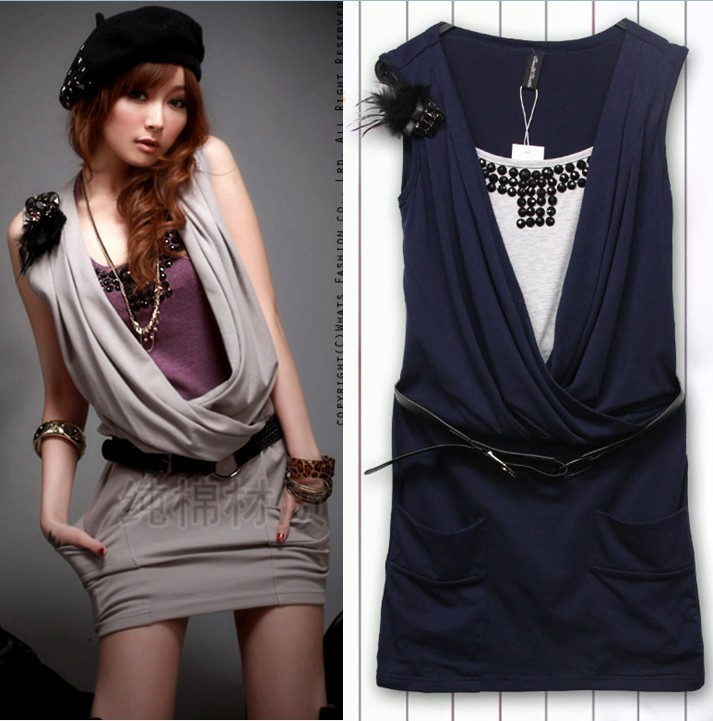 T7765 faux two piece set slim waist tank dress beading slim one-piece dress 2011 new arrival with belt brooch(China (Mainland))