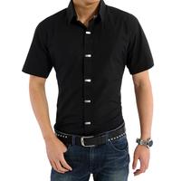 2014 male short-sleeve shirt men's fashionable casual shirt slim men's clothing