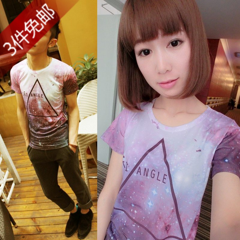 Male women's personalized t-shirt skull 3d colorful luminous short-sleeve T-shirt lovers design elastic tight-fitting t-shirt(China (Mainland))