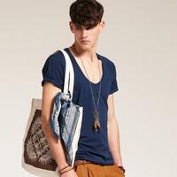 Fashion basic shirt male big low collar round neck short-sleeve T-shirt u slim solid color spring t shirt