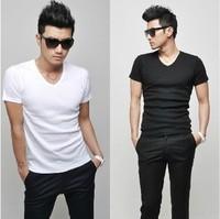 2 2013 spring V-neck tight t-shirt Men short-sleeve black and white male basic shirt clothes