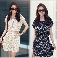 2014 spring and summer women's slim plus size Round Neck Floral Prints Sleeveless chiffon dress one-piece dress