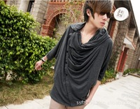 2013 new solid bat shirt non-mainstream men's casual short-sleeved cotton T-shirt bat sleeve