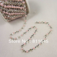 SS16 Crystal and pearl,Rhinestone pearl cup chain,Plated Silver base,10yards/roll CPAM free Use for garment accessories