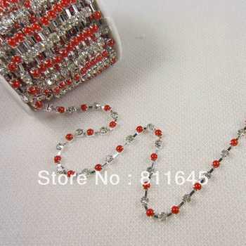 Rhinestone pearl cup chain,10yard Wedding Favor Diamante Banding Rhinestone Chain Cake ribbon Trimming SS16 Free Shipping
