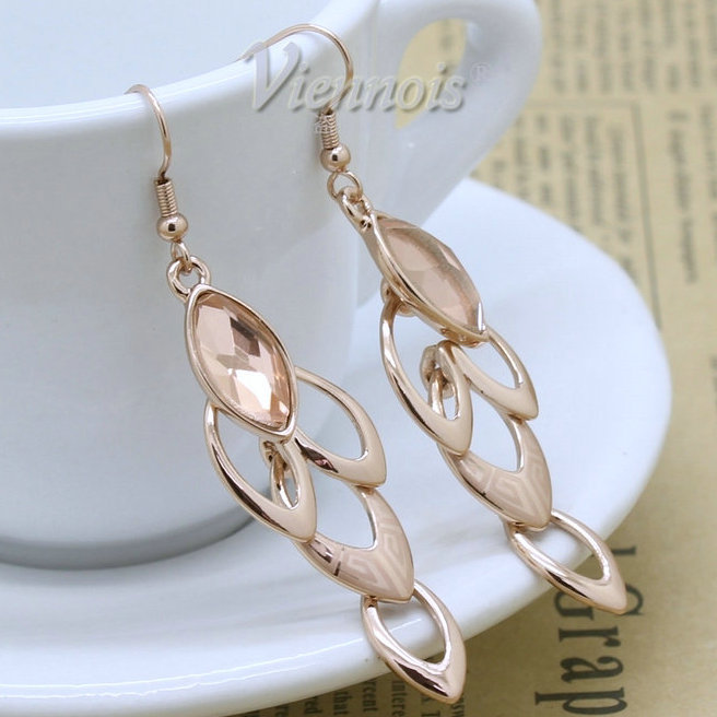 New Arrival 18K Rose Gold Plated Dangle Zircon Long Earrings Elegant Design Costume Jewelry Accessory Wholesale(China (Mainland))