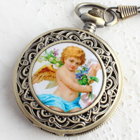 2013 Pocket watch classic oil painting table mechanical pocket watch male women's watch  hot