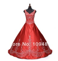 High quality red embroidered beaded wedding dress