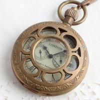 2013 Cutout 5 needle true copper brass mechanical pocket watch vintage mechanical watch  hot