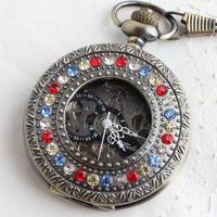 2013 Gift fashion diamond flip carved pocket watch bronze romaji vintage gualian cutout mechanical watch  hot