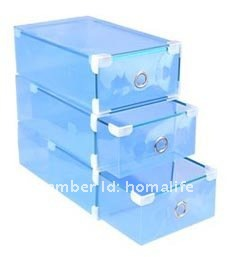 2012 hot sell plastic clear shoes storage box drawer type 5pcs/lot blue color(China (Mainland))