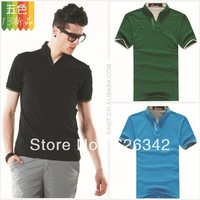 2013 summer new tide male T-shirt free shipping men's short sleeve collar Slim men casual t-shirt big yards Men