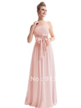 Free Shipping By FedEx Best Selling New Style Long Chiffon Empire Strapless Bowknot Bridesmaid Dress Custom Made