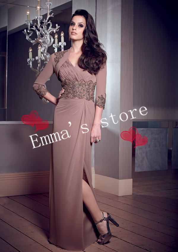 Free Shipping Custom Made 2013 Within Jacket A-Line V-Neck Floor Length Beaded Applique Chiffon Brown Mother Of Bride Dresses(China (Mainland))