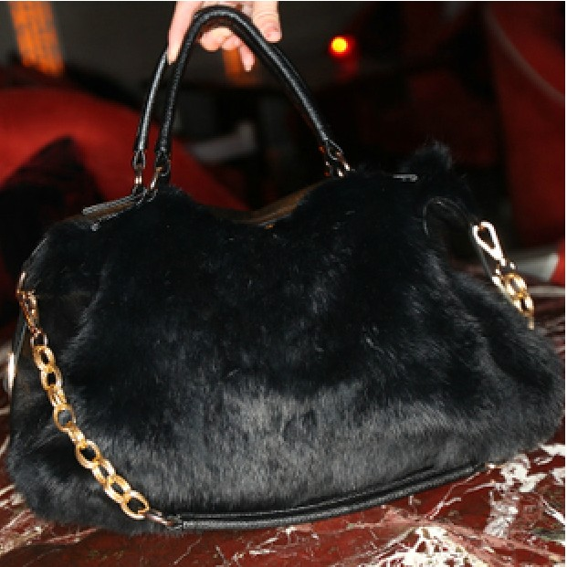 Bag black faux bag women's handbag fur bag 2012 belt bags(China (Mainland))