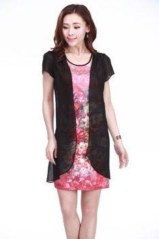 2013 mother clothing dress women's one piece slim silk chiffon one-piece dress short-sleeve