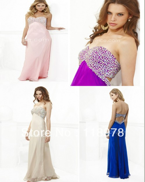 Custom made 2013 Empire Sweetheart Foor Length / Long Beaded Chiffon Style2401015 Ceremony Prom Dresses(China (Mainland))
