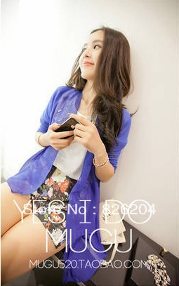 2013 spring and summer new candy-colored chiffon patchwork sweater cardigan sweater jacket sun shirt Perspective(China (Mainland))