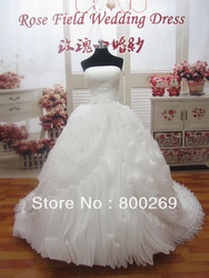 2013 In Stock Stunning Ball Gown Strapless Chapel Train Ruffles Beads Iovry Bridal Gowns/Wedding Dress SL-1049(China (Mainland))
