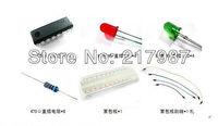 5pcs 74HC595 + 10pcs 5mm red and green led+10pcs 470ohm resistor + 1pcs MB102 breadboard +  65pcs jumper for arduino  start kits