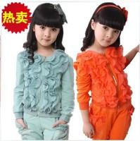 Кофта для девочки 2013 children's clothing zipper sweater female thickening child fleece solid color vest sweatshirt twinset red