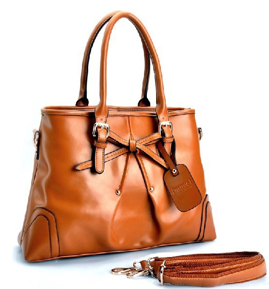 Free shipping- women's brown bow genuine leather handbag single shouldercross-body bag(China (Mainland))